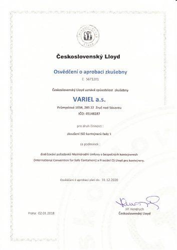 Osvědčení o aprobaci zkušebny - česky