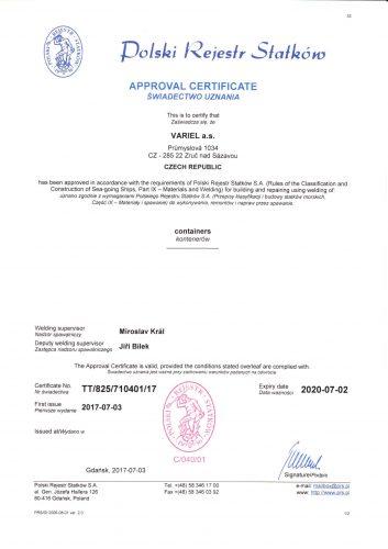 Aprobace - oprava a výroba kontejnerů - PRS