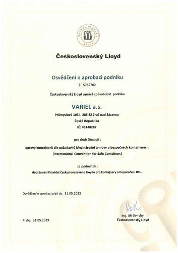 Osvědčení o aprobaci podniku - opravy kontejnerů (česká mutace)