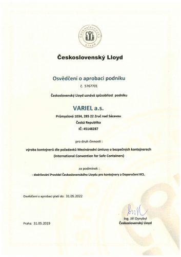 Osvědčení o aprobaci podniku - výroba kontejnerů (česká mutace)